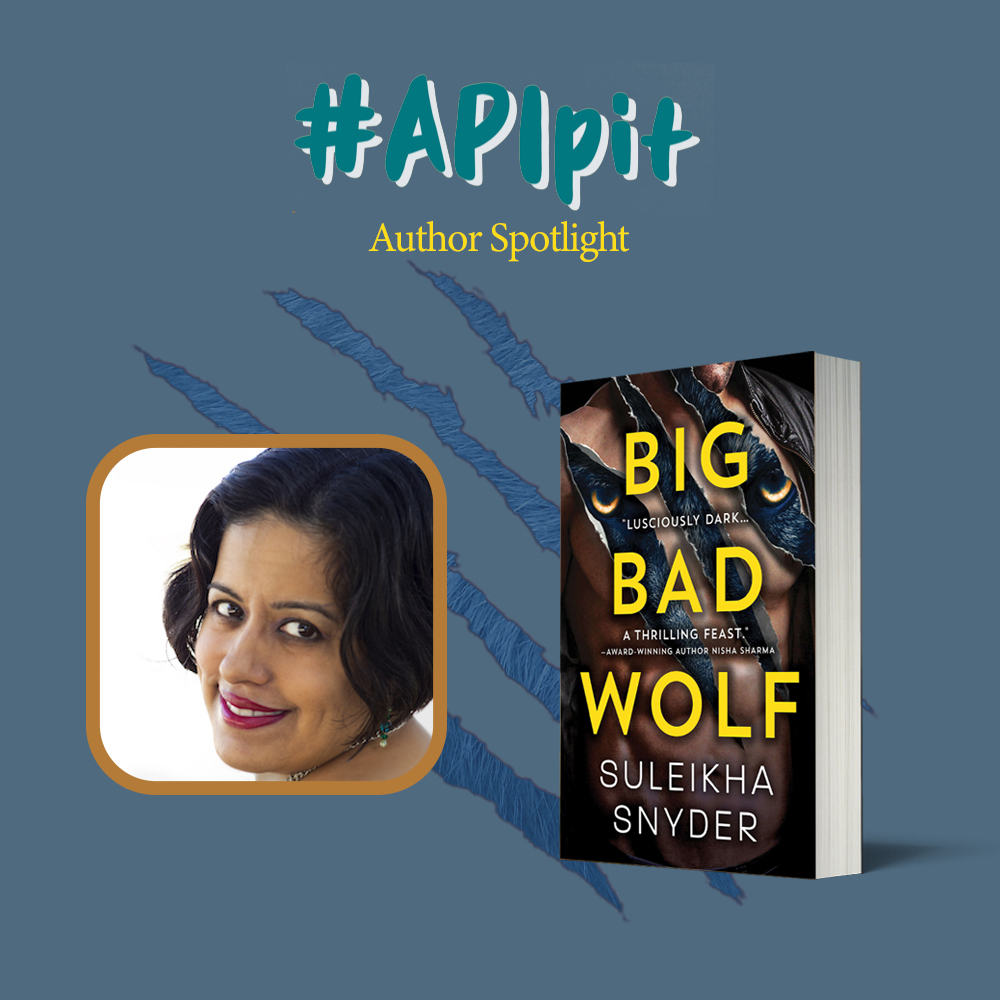 an image of a book BIG BAD WOLF by Suleikha Snyder and the headshot of the author; a light brown skin Asian woman with chin length black hair.