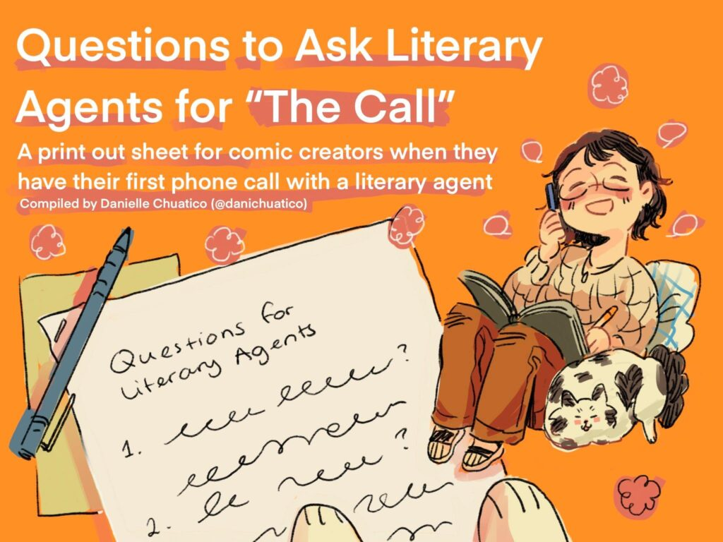 """Cartoon of a person with short hair, glasses, and a sweater writing into an open book while sitting next to a cat. Text says: Questions to Ask Literary Agents for """"The Call"""""""